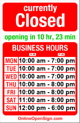 Business hours for Sway & Cake