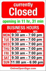 Business hours for The Walking Company