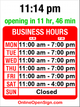 Business hours for Bruno's Mexican-Italian