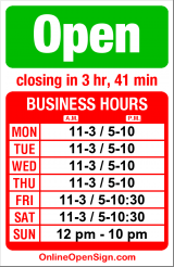 Business hours for Pabla Indian Cuisine