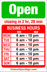 Business hours for Turf Restaurant and Lounge