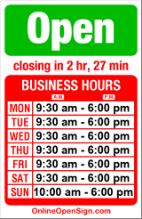 Business hours for J & J Gifts & Sportswear