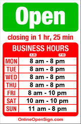 Business hours for Bottega Italiana Gelato Caffe