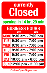 Business hours for Brooks Brothers