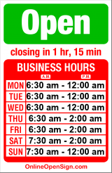 Business hours for Earth & Ocean