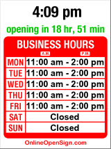 Business hours for Chuck's Hole in the Wall BBQ