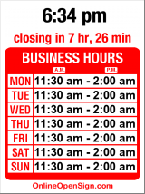 Business hours for Collins Pub