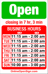 Business hours for Fado
