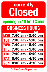 Business hours for Boulangerie Nantaise