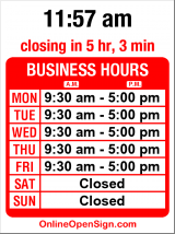 Business hours for Studio 3 Signs