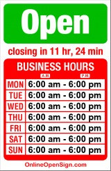 Business hours for The Bagel Deli