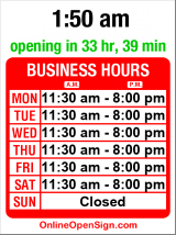 Business hours for Chutneys Grille on the Hill