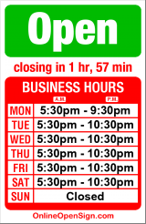 Business hours for Panos Kleftiko