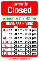Business hours for Sushi Land