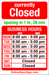 Business hours for National Sign Corp