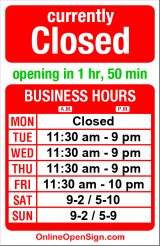 Business hours for Cafe Flora