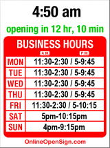 Business hours for Chinoise on Madison
