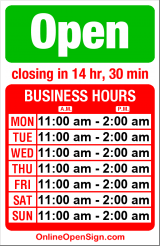 Business hours for Thompson's Point of View