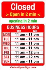Business hours for Romio's Pizza & Pasta