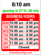 Business hours for Chinese Deli