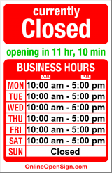 Business hours for Bob's Barber Shop