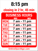 Business hours for Hilltop Red Apple Market