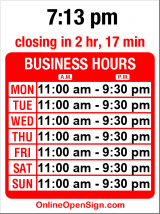 Business hours for La Cabana Cafe