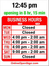 Business hours for Twilight Martini Lounge