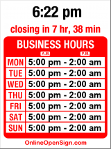 Business hours for Starlite Lounge