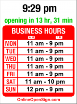 Business hours for Japanese Gourmet