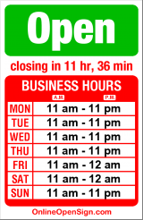 Business hours for Pizza Hut Delivery
