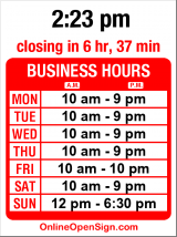 Business hours for East West Bookshop