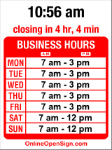 Business hours for Schwartz Brothers Bakery