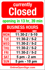 Business hours for Nara Grill