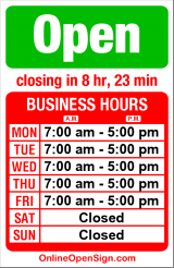 Business hours for Parker Paint
