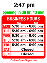 Business hours for Starbucks Coffee