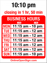 Business hours for Library Bistro & Bookstore Bar