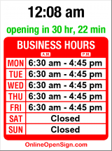 Business hours for Chez Dominique