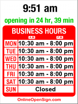 Business hours for Okinawa Teriyaki