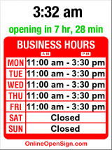 Business hours for Koby's Fish & Chips