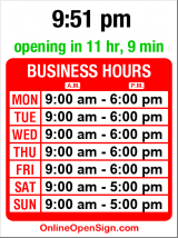 Business hours for Outdoor Emporium