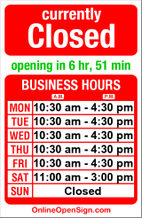 Business hours for Cucina de Santis