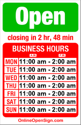 Business hours for Boxcar Ale House