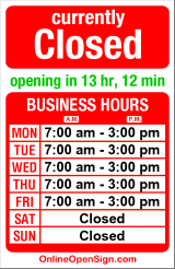 Business hours for Wilson Machine Works