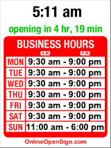 Business hours for Pottery Barn Kids