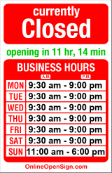 Business hours for Sunglass Hut International