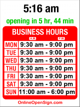 Business hours for Fran's Chocolates