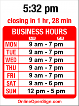 Business hours for Magnolia's Bookstore