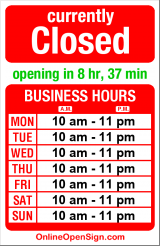 Business hours for Pronto Pizza & Pasta