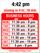 Business hours for Kinnaree